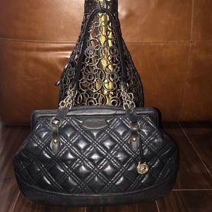 BRAHMIN Black Quilted Leather Snakeskin Satchel